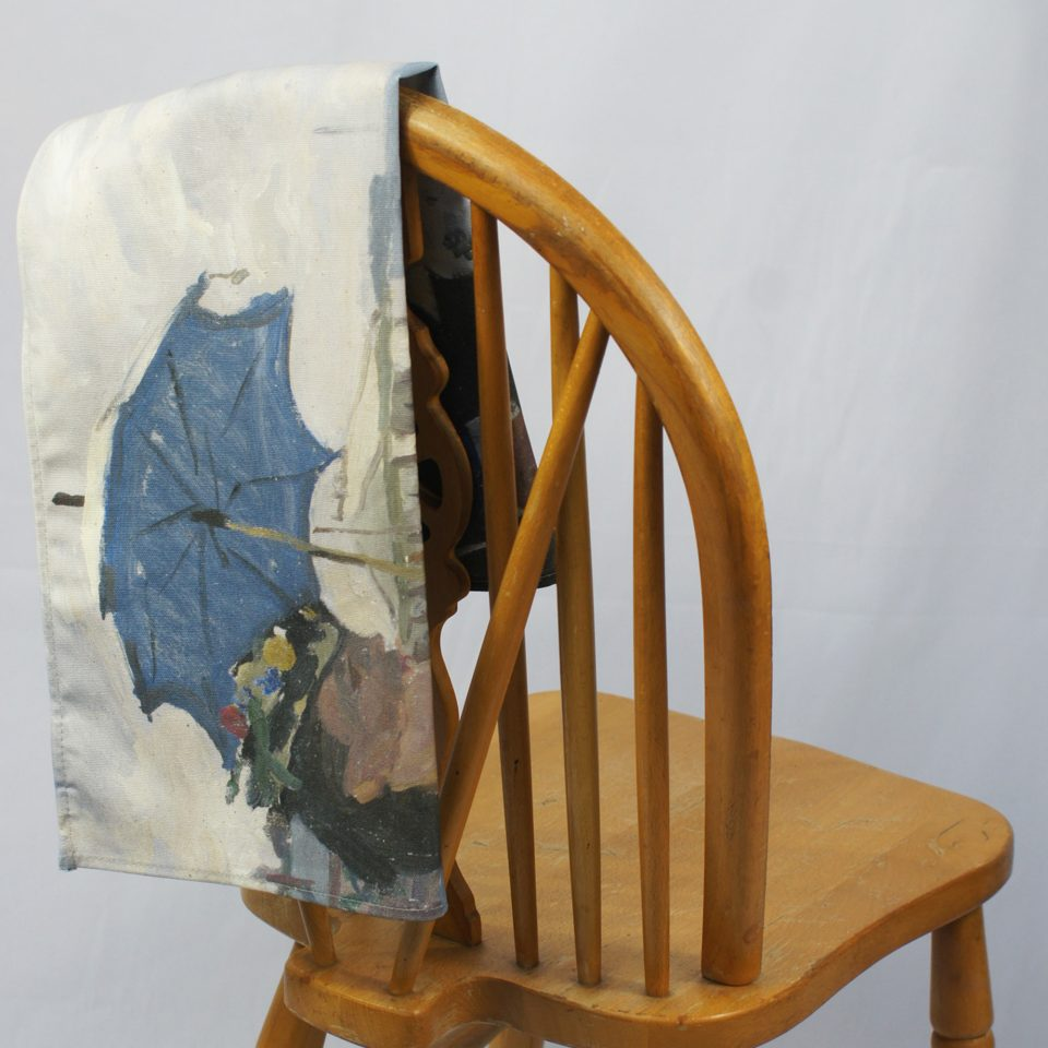 NATIONAL GALLERY BEACH AT TROUVILLE CLAUDE MONET TEA TOWEL ON CHAIR