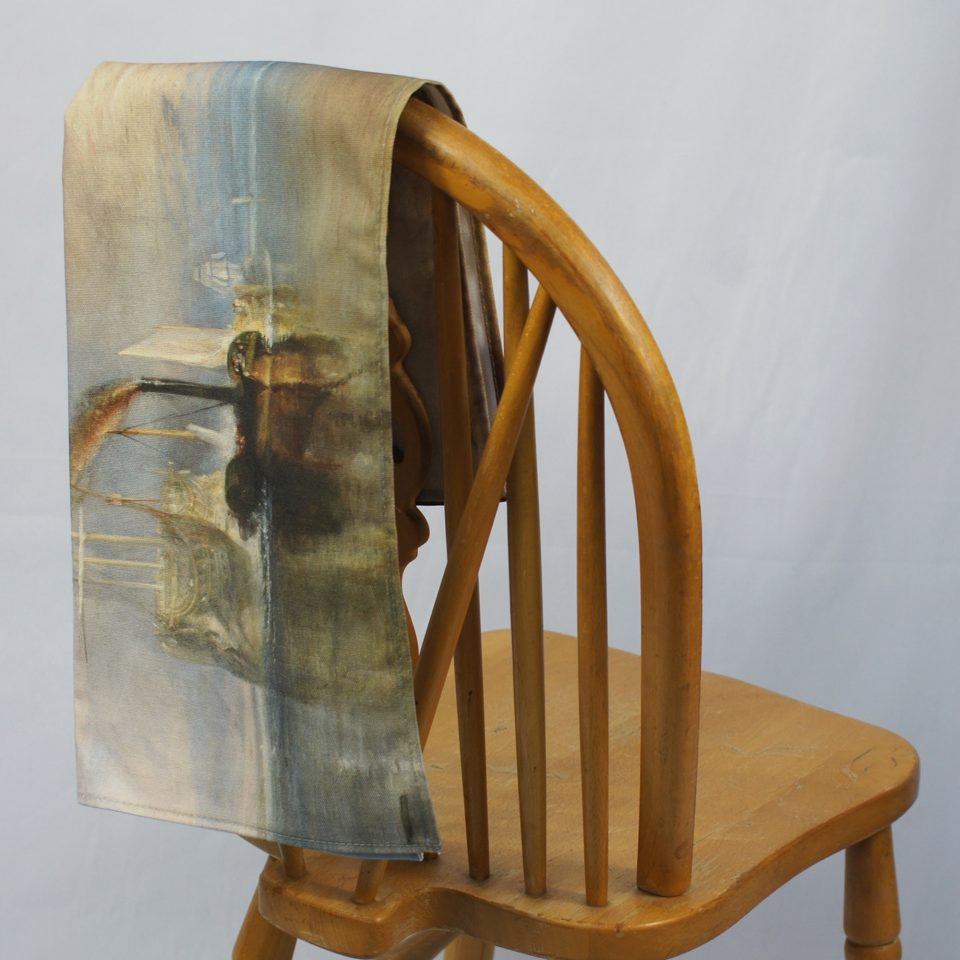 NATIONAL GALLERY FIGHTING TEMERAIRE JOSEPH MALLORD WILLIAM TURNER TEA TOWEL ON CHAIR