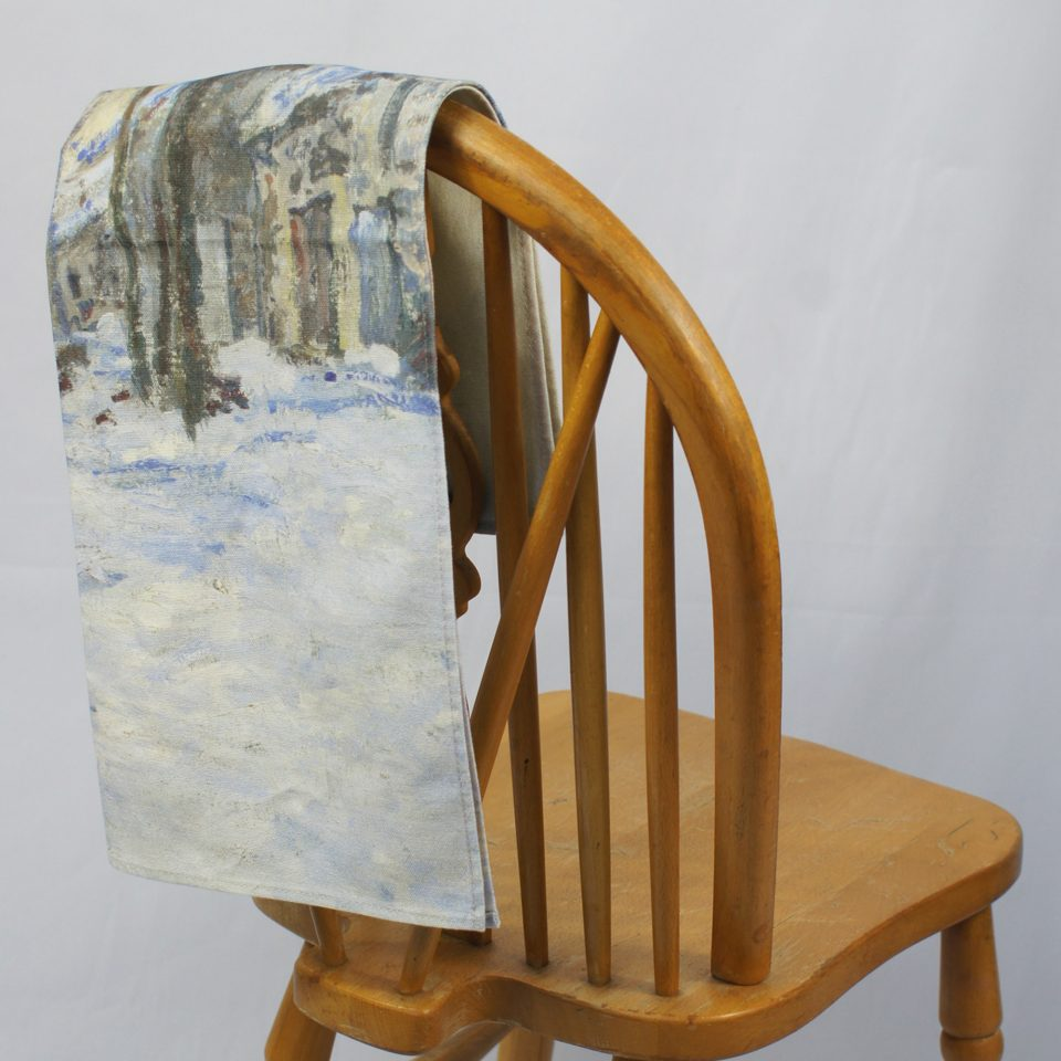 NATIONAL GALLERY LAVACOURT UNDER SNOW CLAUDE MONET TEA TOWEL ON CHAIR