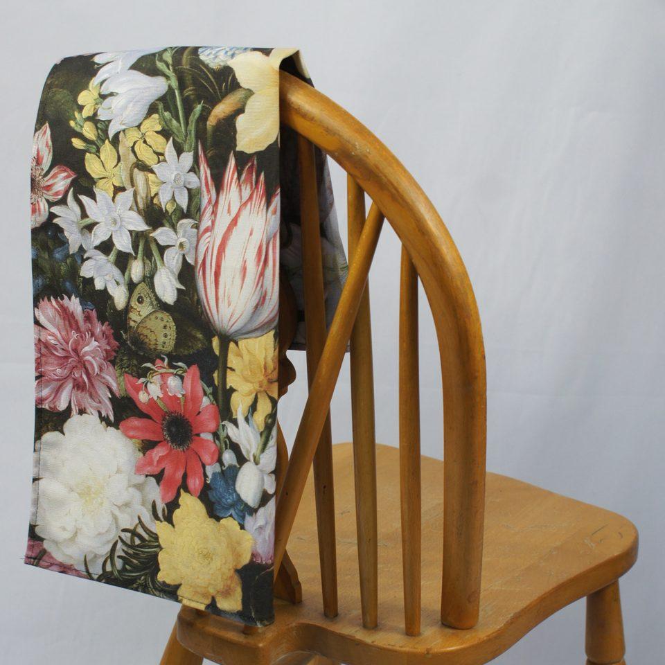 NATIONAL GALLERY STILL LIFE OF FLOWERS AMBROSIUS BOSSCHAERT TEA TOWEL ON CHAIR