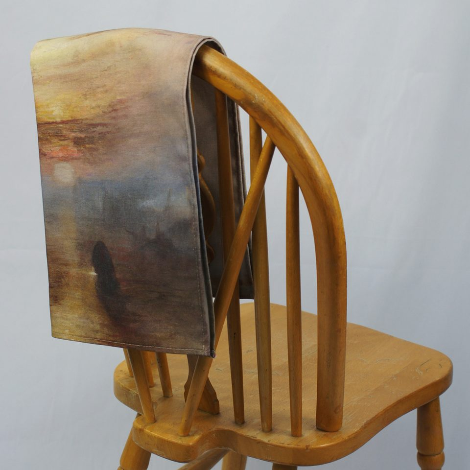 NATIONAL GALLERY TEMERAIRE JOSEPH MALLORD WILLIAM TURNER TEA TOWEL ON CHAIR