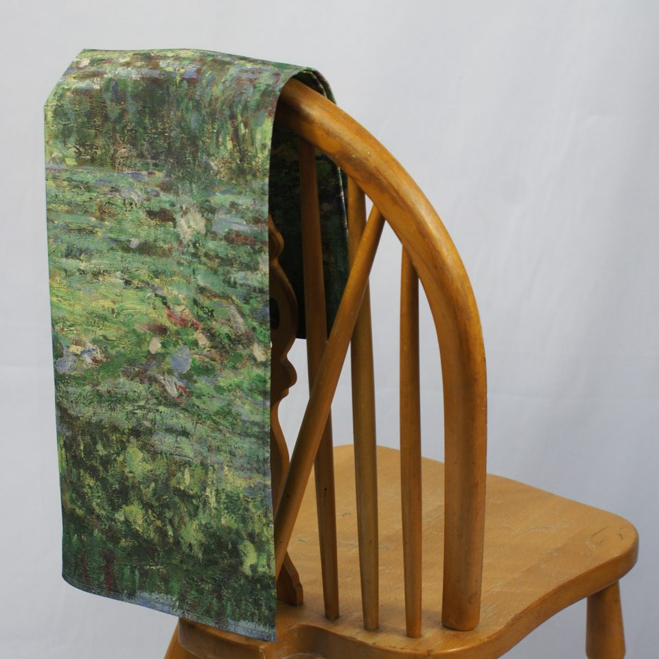 NATIONAL GALLERY WATERLILY POND CLAUDE MONET TEA TOWEL ON CHAIR
