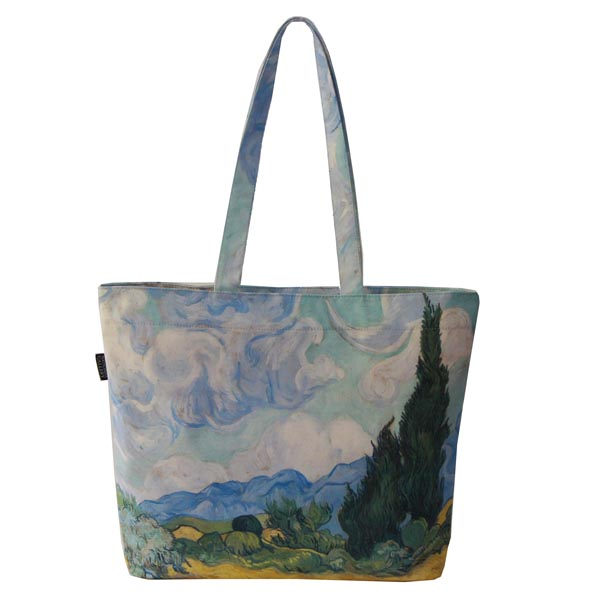 A Wheatfield, with Cypresses by Vincent van Gogh Tote Bag