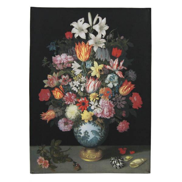 A Still Life of Flowers in a Wan-Li Vase by Ambrosius Bosschaert the Elder Tea Towel