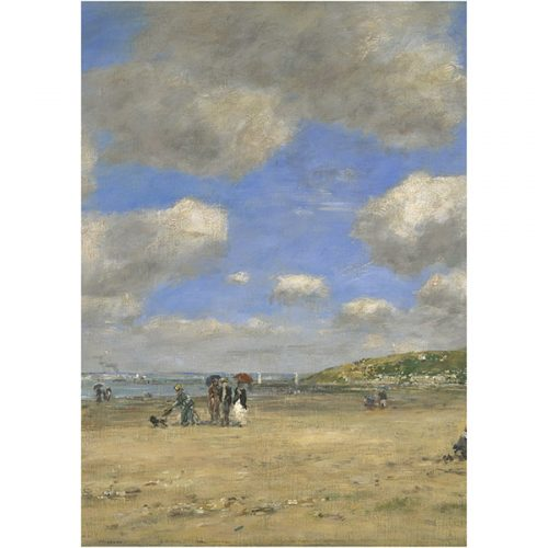 The Beach at Tourgeville-Les-Sablons by Eugene Boudin