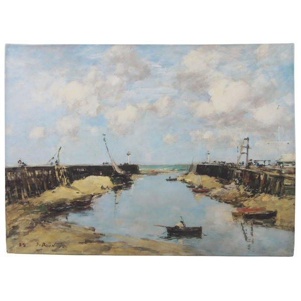 The Entrance to Trouville Harbour by Eugene Boudin Tea Towel