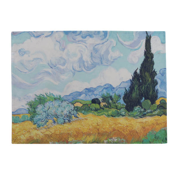 A Wheatfield, with Cypresses by Vincent van Gogh Tea Towel