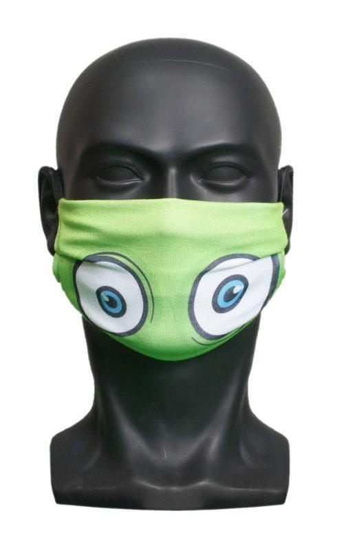 Green Monster Eyes kids Childrens Face Mask Blank for Print on Demand