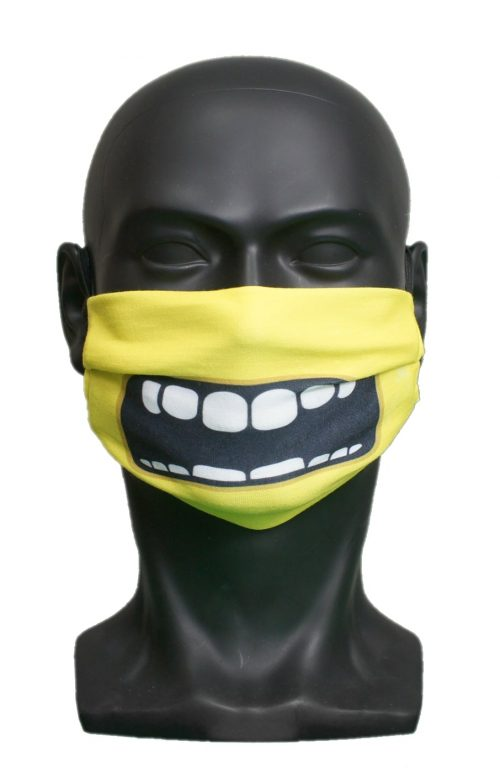Yellow Monster kids Childrens Face Mask Blank for Print on Demand