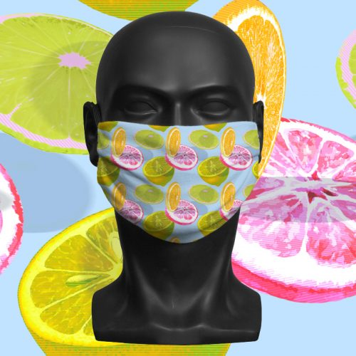 Blue Citrus – ViralOff® Adult Face Mask. One Size, adjustable with ComfyClip accessory