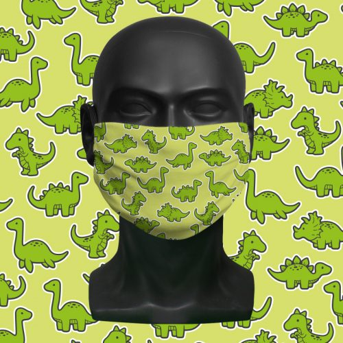 Dino Mix Green – ViralOff® Childrens Face Mask. One size fits all adjustable with Comfy Clip accessory