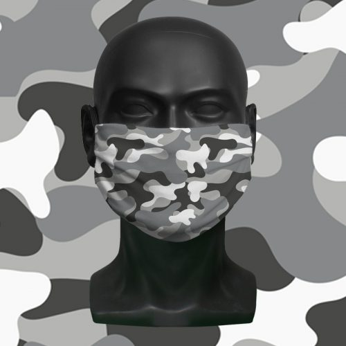 Snow Camo – ViralOff® Childrens Face Mask. One size fits all adjustable with Comfy Clip accessory