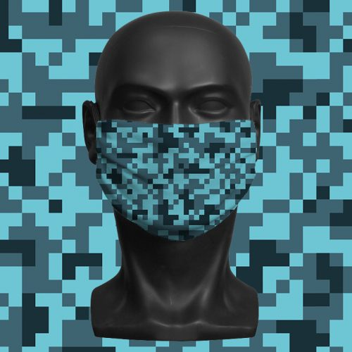 Camo Pixels Blue – ViralOff® Adult Face Mask. One Size, adjustable with ComfyClip accessory