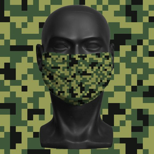 Camo Pixels Green – ViralOff® Adult Face Mask. One Size, adjustable with ComfyClip accessory