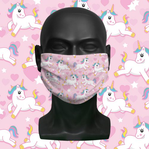 Cute Unicorn Pattern – ViralOff® Childrens Face Mask. One size fits all adjustable with Comfy Clip accessory