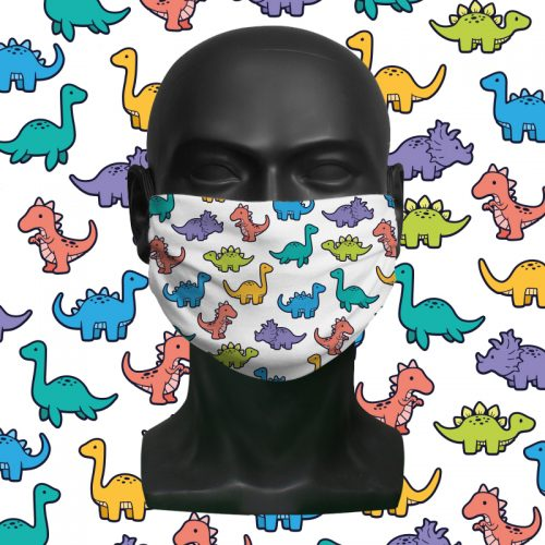 Dino Mix White – ViralOff® Childrens Face Mask. One size fits all adjustable with Comfy Clip accessory