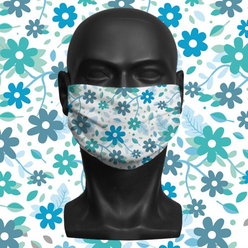 Flower Mix White – ViralOff® Adult Face Mask. One Size, adjustable with ComfyClip accessory