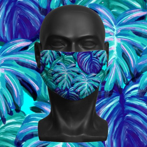 Blue Tropical – ViralOff® Adult Face Mask. One Size, adjustable with ComfyClip accessory