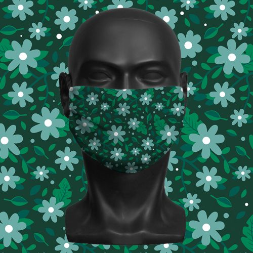 Flower Mix Green – ViralOff® Adult Face Mask. One Size, adjustable with ComfyClip accessory