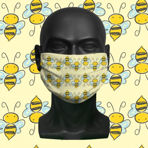 Yellow Bees – ViralOff® Childrens Face Mask. One size, adjustable with Comfy Clip accessory