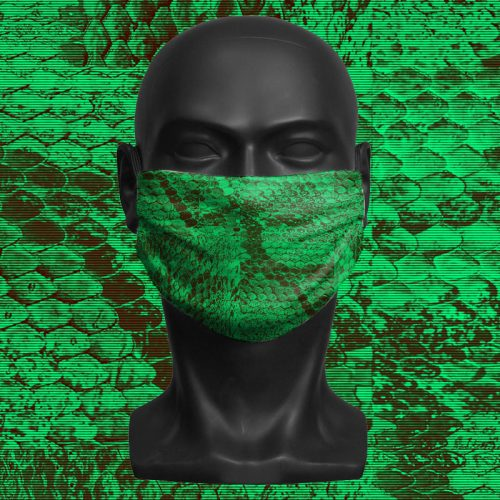 Snake Print Green – ViralOff® Adult Face Mask. One Size, adjustable with ComfyClip accessory