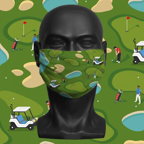Golf Pattern – ViralOff® Adult Face Mask. One Size, adjustable with ComfyClip accessory