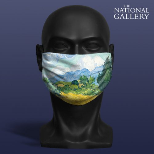 Vincent Van Gogh, A Wheatfield, with Cypresses.. National Gallery ViralOff® Adult Face Mask. One Size, adjustable with ComfyClip accessory