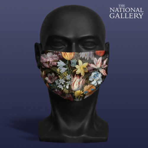 Ambrosius Bosschaert the Elder, A Still Life of Flowers in a Wan-Li Vase. National Gallery ViralOff® Adult Face Mask. One Size, adjustable with ComfyClip accessory
