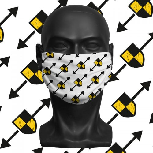 'Shielding Arrow Repeat Print' ViralOff® Adult Face Mask. One Size, adjustable with ComfyClip accessory