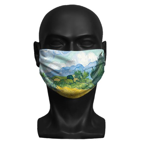 Vincent Van Gogh, A Wheatfield, with Cypresses. National Gallery ViralOff® Adult Face Mask. One Size, adjustable with ComfyClip accessory
