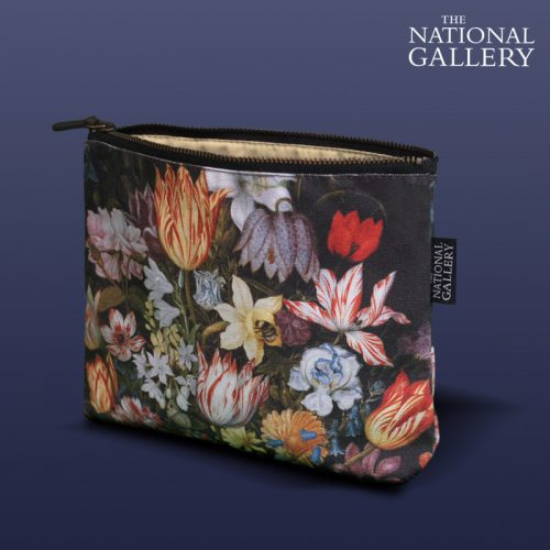 Ambrosius Bosschaert the Elder, A Still Life of Flowers in a Wan-Li Vase. National Gallery Cosmetic Bag