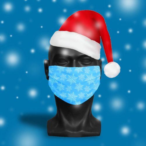 'Ice Blue Snowflake' ViralOff® Adult Festive Face Mask. One Size, adjustable with ComfyClip accessory