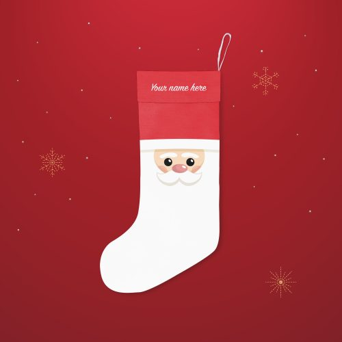 'Santa Face' Festive Christmas Stocking – Personalised Cuff