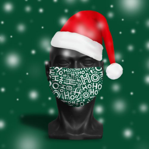 HoHoHo Green – ViralOff® Adult Festive Face Mask. One Size, adjustable with ComfyClip accessory
