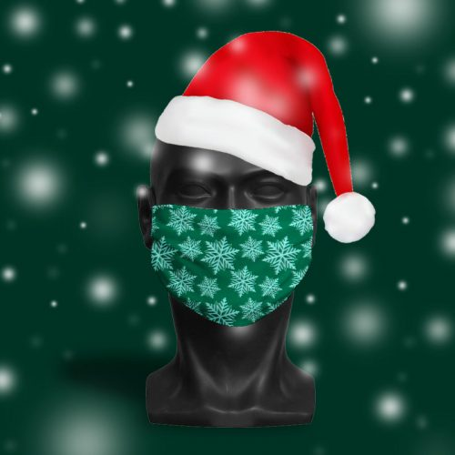 'Forest Green Snowflake' ViralOff® Adult Festive Face Mask. One Size, adjustable with ComfyClip accessory