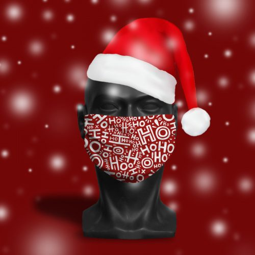 HoHoHo Red – ViralOff® Adult Festive Face Mask. One Size, adjustable with ComfyClip accessory