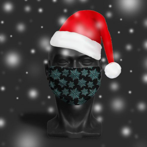 'Monochrome Snowflake' ViralOff® Adult Festive Face Mask. One Size, adjustable with ComfyClip accessory