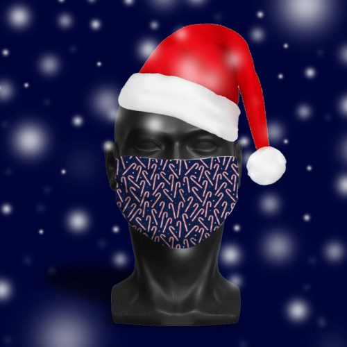 'Midnight Candy Cane Glow' ViralOff® Adult Festive Face Mask. One Size, adjustable with ComfyClip accessory