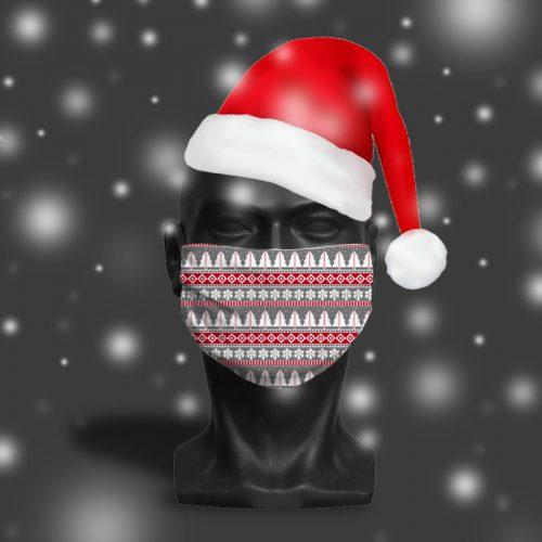 'Grey Fairisle' ViralOff® Adult Festive Face Mask. One Size, adjustable with ComfyClip accessory