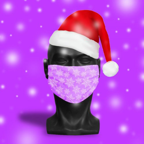 'Hot Pink Snowflake' ViralOff® Adult Festive Face Mask. One Size, adjustable with ComfyClip accessory