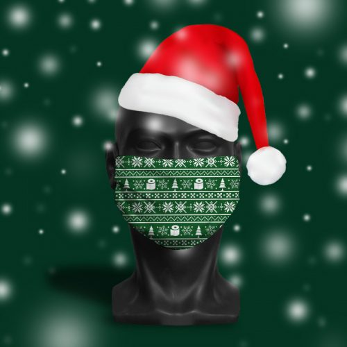 Festive Roll Green – ViralOff® Adult Festive Face Mask. One Size, adjustable with ComfyClip accessory