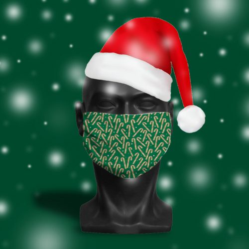 'Green Candy Cane Glow' ViralOff® Adult Festive Face Mask. One Size, adjustable with ComfyClip accessory