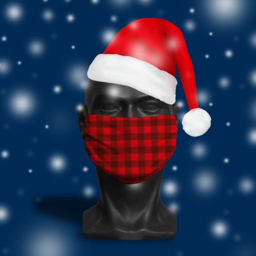 Red Tartan – ViralOff® Adult Festive Face Mask. One Size, adjustable with ComfyClip accessory