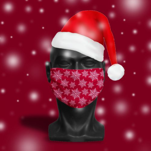 'Deep Red Snowflake' ViralOff® Adult Festive Face Mask. One Size, adjustable with ComfyClip accessory