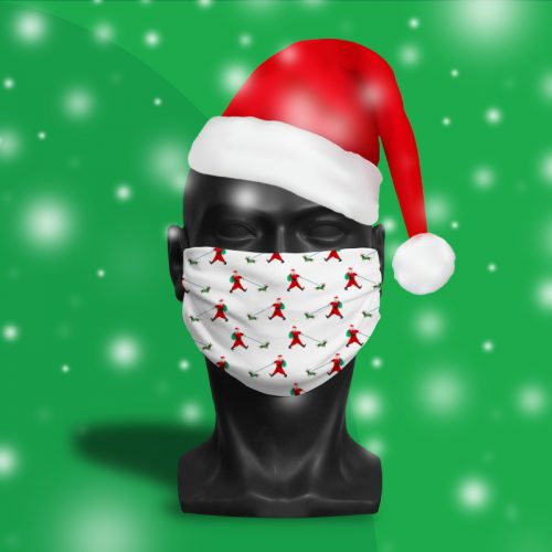 Santa Walking His Dog – ViralOff® Adult Festive Face Mask. One Size, adjustable with ComfyClip accessory