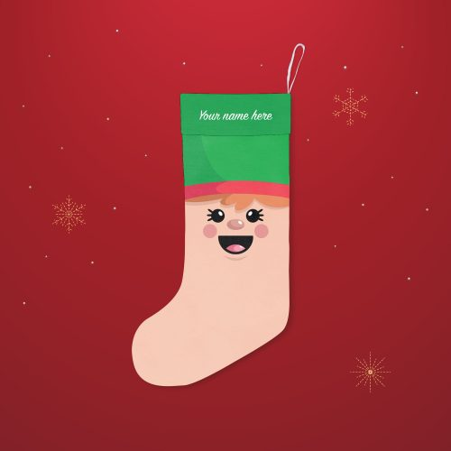 'Elf Face' Festive Christmas Stocking – Personalised Cuff