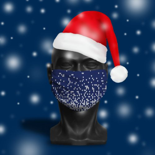 Festive Jumper Blue – ViralOff® Adult Festive Face Mask. One Size, adjustable with ComfyClip accessory