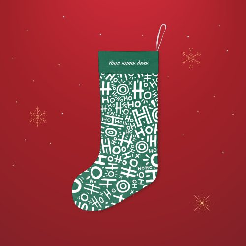 'HoHoHo Forest Green' Festive Christmas Stocking – Personalised Cuff