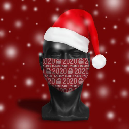 'Merry Christmas 2020 Red' ViralOff® Adult Festive Face Mask. One Size, adjustable with ComfyClip accessory
