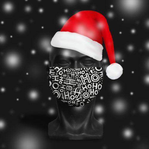 HoHoHo Black – ViralOff® Adult Festive Face Mask. One Size, adjustable with ComfyClip accessory